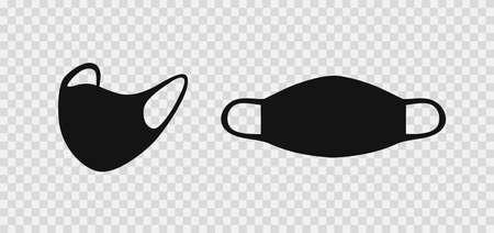 Surgical face mask. Black silhouette medical mask. Coronavirus protection. Vector Stockfoto - 158827942