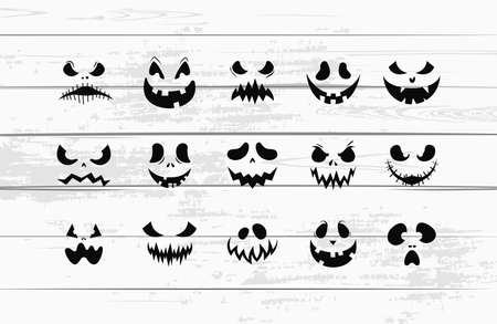 Scary silhouettes. Halloween faces. Isolated on white. Vector Stock Illustratie