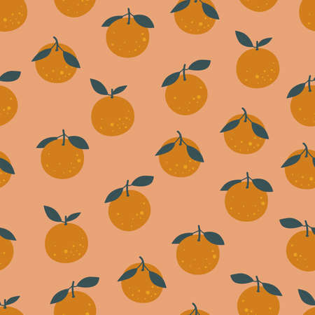 Orange clementine seamless pattern. Trendy wallpaper texture. Vector