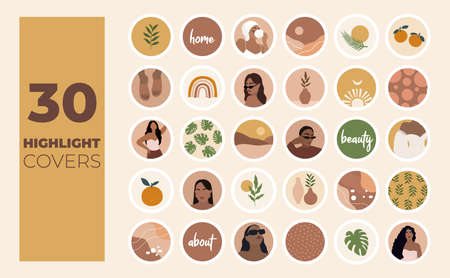 story Highlights cover icons. Boho style. Abstract. Fashion and style. Vector
