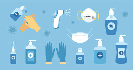 Alcohol sanitizers. Disinfection icon. Pandemic prevention. Vector
