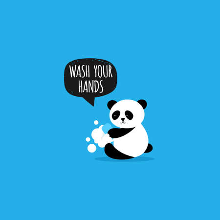 Cute Panda. Face mask. Keep the distance. Coronavirus prevention. Vector Stock Illustratie