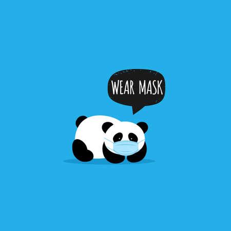 Cute Panda. Face mask. Keep the distance. Coronavirus prevention. Vector Vettoriali