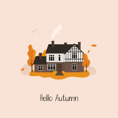 Hello Autumn. Cute house in the forest. Fall. Vector