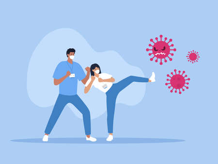 Fight Corona virus. Medical staff fighting with pandemic. Vector Stockfoto - 156726956