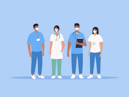 Doctor and nurses with face masks. Medical team. Vector Stock Illustratie