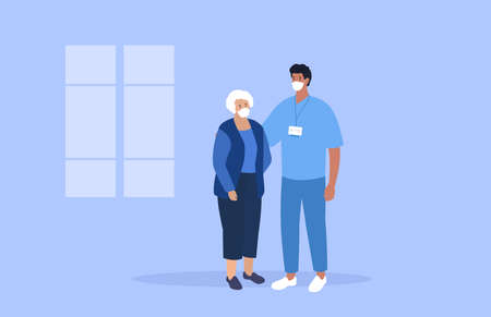 Doctor and old woman. Support and medical care. Doctor and patient. Vector