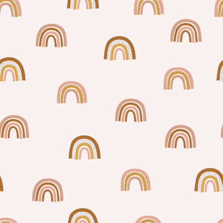 Pastel nursery rainbow seamless background. Baby cute hand drawn rainbow texture. Vector