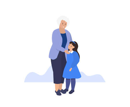 Happy smilling Grandmother and granddaughter together. Vector