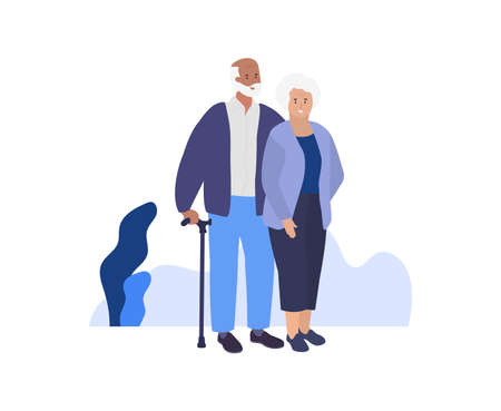 Old woman and man. Happy smiling Grandmother and grandfather. Vector Stock Illustratie