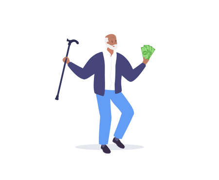 Happy old man holding money and dancing. Hand drawn doodle illustration. Vector Stock Illustratie