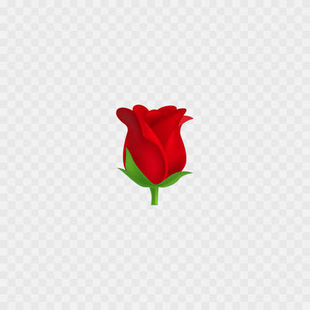 Rose emoji. Red Flower realistic 3D icon. Isolated. Vector