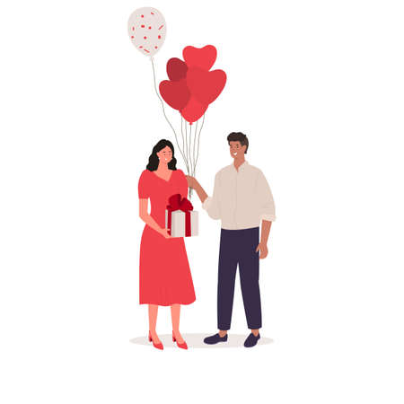 Valentines day couple. Happy man and woman together. Vector Stockfoto - 156727083