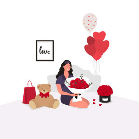 Happy girl sitting on bed. Valentine s day gifts. Surprise. Vector