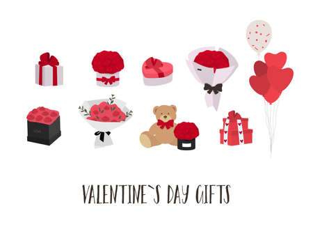 Valentine s day gifts ideas. Roses, balloons, sweets. Vector Stock Illustratie