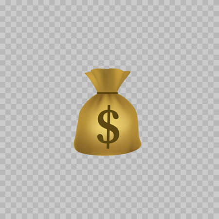 Bag with Money. Realistic Money bag icon. Isolated. Vector