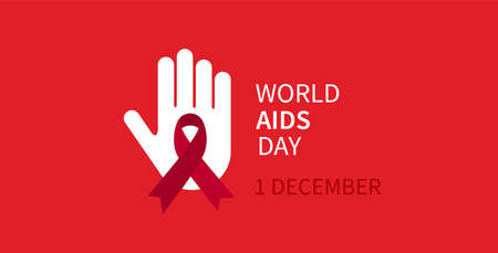 World Aids day. 1 December. Hand icon. Aids and Hiv. Vector