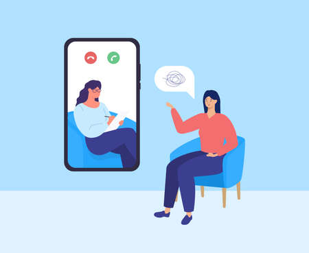 Psychotherapy online. Video call with doctor and patient. Mental health care. Vector Stock Illustratie
