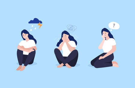 Tired woman. Depression, stress, anxiety, mental disorder. Vector