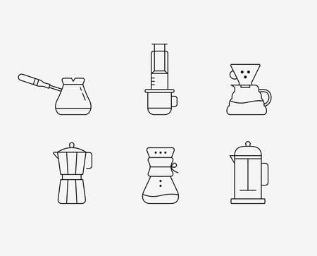 Coffee brewing methods. Line icons set. Vector