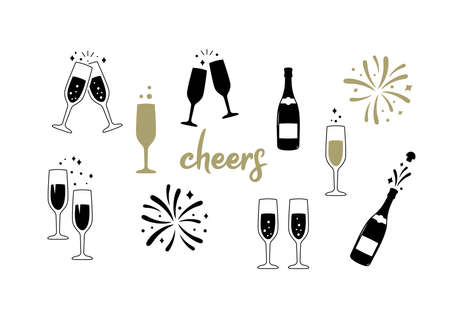 Champagne glass and bottle. Celebration party. Cheers. Vector