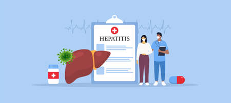 Hepatitis disease. Doctor helping ill female patient. Vector