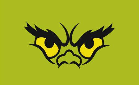 Green monster eyes. Isolated on green. Vector Stockfoto - 158870528