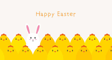 Happy Easter. Cute chickens and Bunny. Vector Stock Illustratie