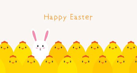 Happy Easter. Cute chickens and Bunny. Vector Illusztráció