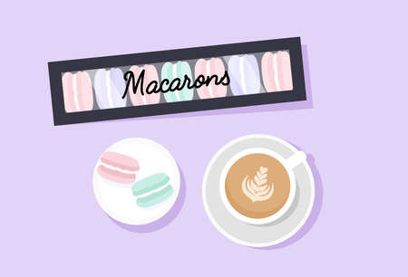 Sweet macarons and cappucino cup. Flat style. Vector