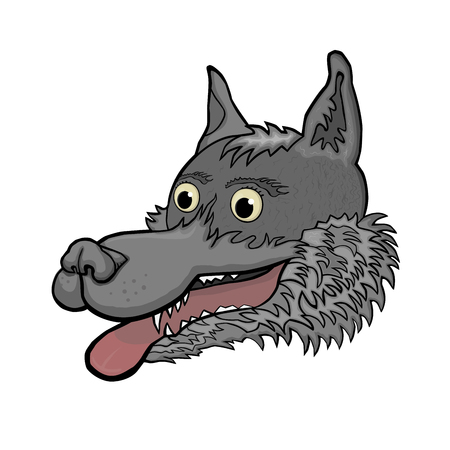Good and wild gray wolf with a red tongue. Furry animals. Cartoon.