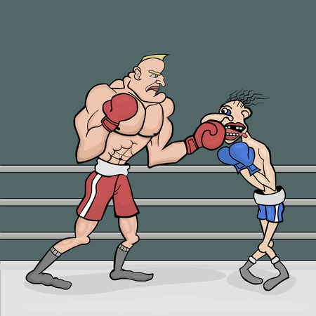 The fight for the championship. In red shorts powerful and muscular boxer. His opponent in the blue shorts and skinny weakling.