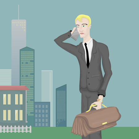 economist: Businessman holds in one hand and a large bag of plump, and the second hand holding a cell phone. The agent in the beautiful city. Illustration