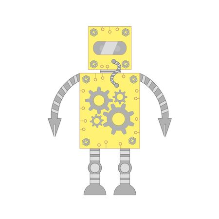 assistant: The robot assistant and employee of yellow color on a white background. Illustration
