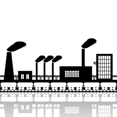 steel industry: The powerful iron and steel industry of black color on a white background. Illustration