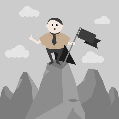 Imperious and historical leader stands on top of a mountain with a black flag Illustration