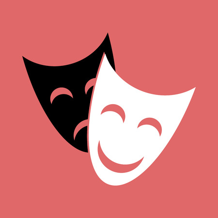theatrical mask: Smiling white theatrical mask and sad black on a red background Illustration