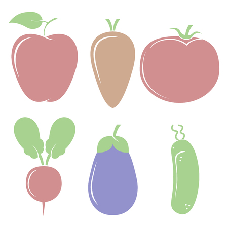 vegatables: A lot of different fruits and vegetables for a healthy diet and a happy life