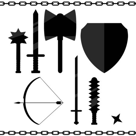 arsenal: arms, history, sword, mace, shield, bow, arrow, ax, play, vector, art, illustration, flat, design, drawing, object, asterisk, war, chain, old, ancient, hot, icon, background, black, detail, item, weapon, arsenal, aggression, crime, industry, social Issues Illustration