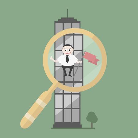 Succesvolle zakenman op zoek naar een baan in een kantoorgebouw