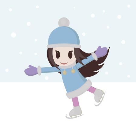 Girl skating on ice skates