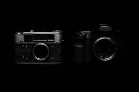 Digital vs. Analog SLR Camera with Slides, Memory Cards, 35 mm Film Reklamní fotografie