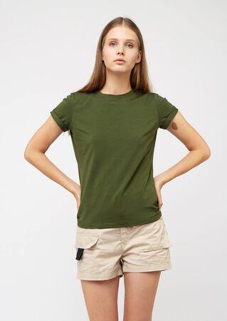 Teenager girl in beige cargo shorts