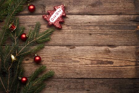 2020. Christmas or New Year decoration background. Brown grunge background with copy space.