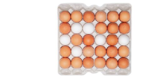 Farm egg in paper container. Isolated on white background. Top view