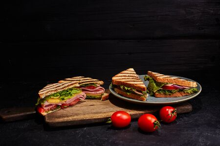 Four sandwiches on the plate. Dark background.