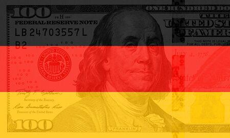 colorful waving german flag on a american dollar money background Standard-Bild