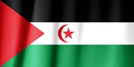 Sahrawi Arab Democratic Republic flag waving on wind.