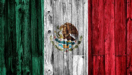mexico, mexican flag painted on old wood plank background