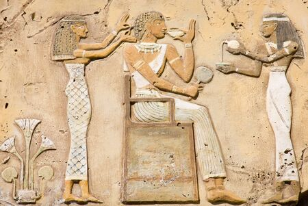 Symbols of ancient Egypt carved in stone